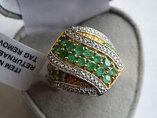 Large 2.25Cts Brazilian Emerald & Diamond Wrap 14K Y Gold/925 Ring Size S
