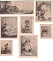 Rembrandt, 7 stampe di riproduzione, epoca sconosciuta, XX secolo
