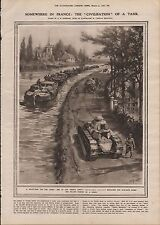 1919 THE CIVILISATION OF A TANK SOMEWHERE IN FRANCE PULLING BARGES ON A CANAL