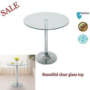 Small Round Glass Coffee Table Bar Dining Kitchen Furniture Chrome Base