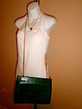 Salvatore Ferragamo Green Suede/Leather 2way Chain Strap/Clutch Vintage Handbag