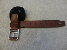 $65 NEW LACOSTE Men's Web Woven Navy Stretch Canvas and Brown Leather Belt Sz XL