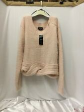 BEBE NWT Sexy Pink CABLE HEM CROP Sweater Size M Women's Stretchable Xtra-Soft