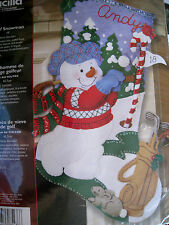Christmas Bucilla Felt Applique Holiday Stocking Craft Kit,GOLF SNOWMAN,85436,18