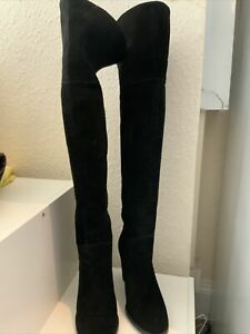 Pied A Terre Ladies Over Knee Suede Black Boots Size 40/7 (132BB)