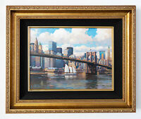 Brooklyn Bridge Original Signed Framed Oil on Canvas Painting | Free Shipping