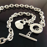 NECKLACE CHAIN REAL 925 STERLING SILVER S/F SOLID T'BAR HEART PENDANT DESIGN