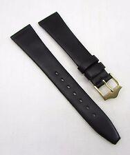 19mm BANDA Black Crystal Calfskin Grain Genuine Leather Watch  Strap / Band
