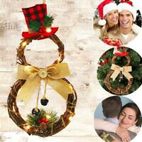 Romantic Warm Christmas Wreath Light Up LED Pre Lit wreath Door Wall Party Decor