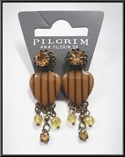 OLD GOLD COLORED EARRINGS HEART CRYSTALS & BEADS - VINTAGE jewelry drop dangle