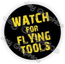 Flying Tools Hard Hat Sticker | Decal Funny Label Helmet Construction Laborer