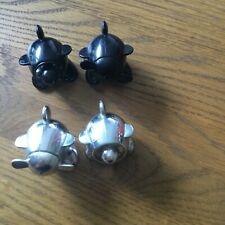VIRGIN ATLANTIC SALT AND PEPPER POTS x 2 sets black and silver