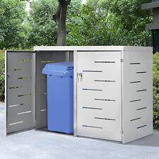 Mülltonnenbox Müllbox Edelstahl 2er Mülltonnenverkleidung Schiebedach Juskys®
