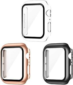 3 Pack Apple Watch Screen Protector Case 4 5 6 SE Scratch Resistant Black Gold