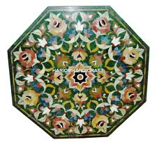 Green Marble Side Coffee Table Top Floral Inlay Marquetry Inlaid Art Decor H2920