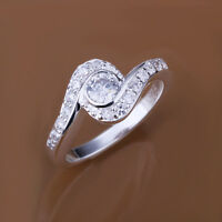 Lady Girl 925 Sterling Silver Filled Inlay Zircon Simple Solid Ring Size 7- 8
