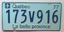 Quebec 1977 License Plate # 173V916