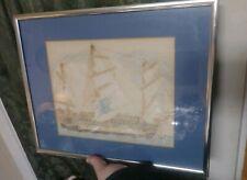 Folk Art Primitive Drawing of Sailing Ship Vintage Framed Nautical Art Brut