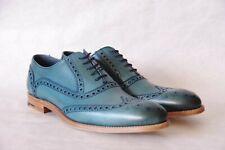 BARKER Blue calf leather brogue shoes S 10F UK 45 EU BNIB val. 299€