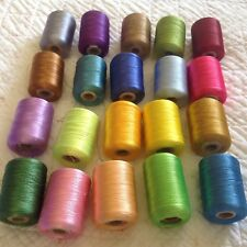 20 reels Silk Thread  - Variety of Vibrant Bright Colours. (Zikria?) Larger Size