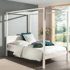 Himmelbett massiv weiß 140x200cm mit Lattenrost Einzelbett Jugendbett Gästebett  günstig