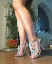 new ASOS silver wedding or party shoes with white flower detail size 7 / 40