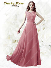 Long Chiffon Lace Wedding Bridesmaid Dresses Sleeves Sheath Maid Of Honor Party