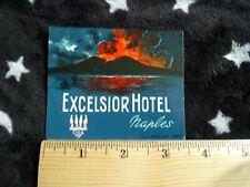 Excelsior Hotel, Naples Italy, Erupting Volcano Vintage Luggage Label, Scrapbook