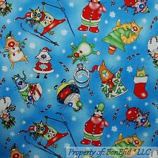 BonEful FABRIC FQ Cotton Quilt Blue White Cat Kitty Xmas Snowflake Stocking Red