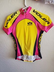 Women Cycling Jersey Voler Small Pink and Yellow