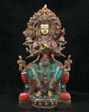 "11.4"" Old Tibet Nepal Buddhism Bronze Turquoise coral Gem Maitreya Buddha Statue"
