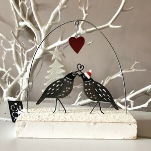 Lovey dovey quails standing Christmas decoration. Shoeless joe. Love birds. Snow