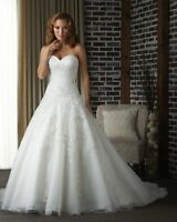 New White/Ivory Organza Bridal Gown Wedding Dress Stock Size 6 8 10 12 14 16