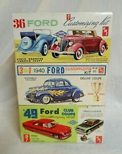 LOOK! THREE 1960`S AMT ORIGINAL ISSUE FORD 1/25 MODEL CAR KITS IN ONE LOT!