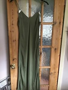 green satin slip dress