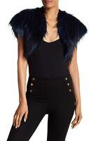Ramy Brook BLUE MULTI Kaylee Faux Fur Shrug Vest, US X-Small