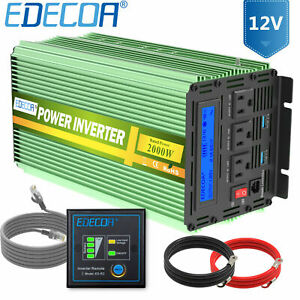 RV Power Inverter 2000 W 4000 Watt 12V dc to 110V 120V ac Converter LCD EDECOA
