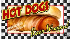 """Hot Dogs Bacon Wrapped Decal 14"""" Concession Food Truck Restaurant Vinyl Menu"""