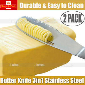 2pack Butter Knife Multi-function Stainless Steel Butter Curler&Spreader Silver