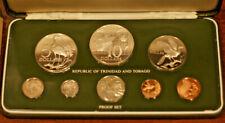 Lot of 5 Proof Sets, Includes Ten Large Silver Coins, Trinidad Tobago 1974-1979