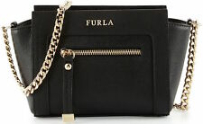 NWT FURLA Ginevra Mini Leather Black Gold Crossbody Bag, MSRP$318