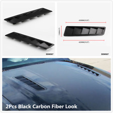 2Pcs Black Carbon Fiber Look ABS Car Hood Air Vent Louver Style Panel Decor Trim