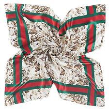Women Satin Scarf Lady Fashion Shawl Soft Branded Stripes Style Leaf Shapes Chic