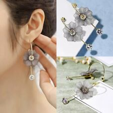 Sweet Crystal Flower Earrings Women Circle Gray Long Drop Dangle Hook Jewelry