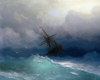 Storm At Sea Russian Seascape Ship Wreck Ocean Painting Art REAL CANVAS PRINT