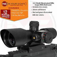 2.5-10x40 rifle scope with red laser / Airsoft Red & Green reticle sight