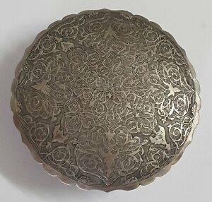 Antique 19th c.Ottoman Persian Islamic Hand Engraved Solid Silver Box Case 84