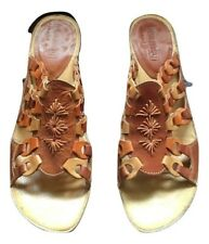 Pikolinos Women's Woven Brown Multi Leather Sandals Flats Size 39 (8 81/2) Shoe