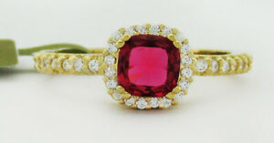 RED RUBY 0.76 Cts & WHITE SAPPHIRE RING .925 Silver * New With Tag * size 6