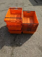 More details for  10 x bright orange bail arm crates / bale arm plastic stacking storage boxes